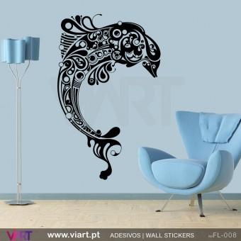 Golfinho floral - Vinil Autocolante para Decoração - Viart -1