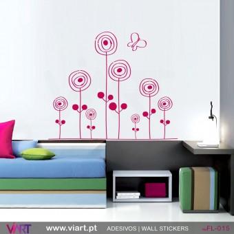 """Flores """"desenhadas""""- Vinil Adesivo para Decoração - Viart -1"""