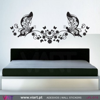 Floral Butterflies! - Wall stickers - Vinyl decoration - Viart -1