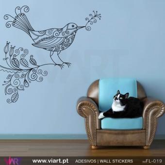 Pássaro floral! - Vinil Adesivo para Decoração - Viart -1