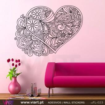 Coração floral! - Vinil Adesivo para Decoração - Viart -1