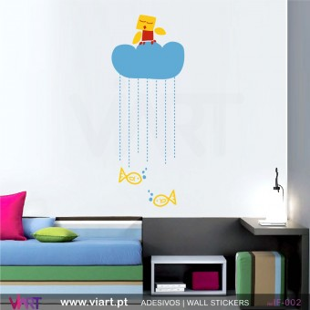 Passarinho na nuvem! - Vinil Adesivo para Decoração - Viart -1