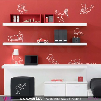 Set of 9 naughty kids! Wall Stickers
