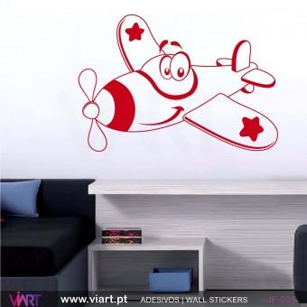 Avião divertido! - Vinil Adesivo para Decoração - Viart -1
