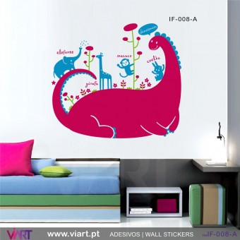 Dinosaur at the zoo! - Wall stickers - Vinyl decoration - Viart - dark pink