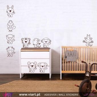 Conjunto de 9 animais! Vinil Autocolante Decorativo! Decoração Parede - Viart -1