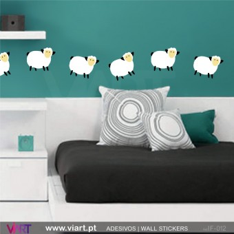 Frolicking sheep! - Wall stickers - Vinyl decoration - Viart -1