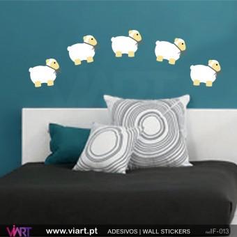 Conjunto de 6 ovelhas! - Vinil Adesivo para Decoração - Viart -1
