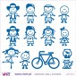 10 kids, bike, aquarium and kitten! - Wall stickers - Vinyl decoration - Viart -2