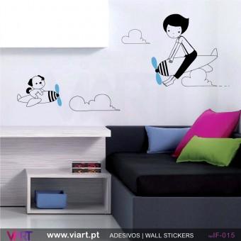 Menino e cãozinho de avião- Vinil Adesivo para Decoração - Viart -1