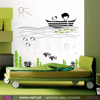 Menino no mar!- Vinil Adesivo para Decoração - Viart -1