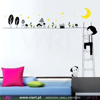 BOY IN THE CITY OF DREAMS! Wall Sticker!