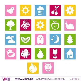 22 quadradinhos coloridos - Vinil Adesivo para Decoração Infantil- Viart -2