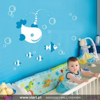 Whale with Fish!- Wall stickers - Baby room - Viart -1