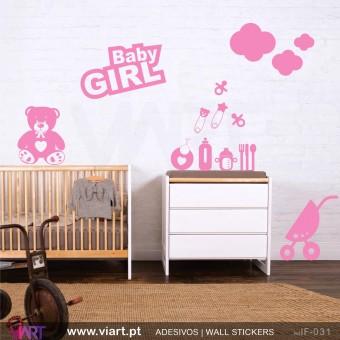 Conjunto BABY GIRL! - Vinil Adesivo para Decoração Infantil- Viart -1