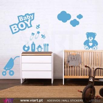 Conjunto BABY BOY! - Vinil Adesivo para Decoração Infantil- Viart -1
