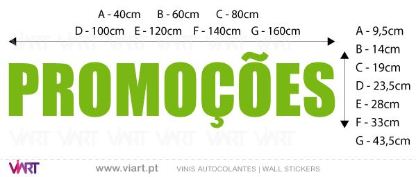 "Viart Wall Stickers - Window Dressing - ""PROMOÇÕES"" - measures"
