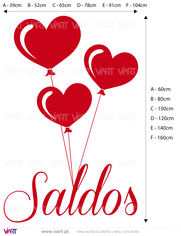 Viart Wall Stickers - Window Dressing - SALDOS with hearts - measures