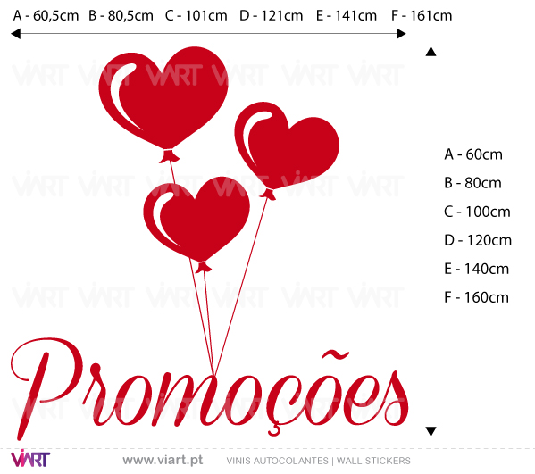 Viart Wall Stickers - Window Dressing - PROMOÇÕES with hearts - measures