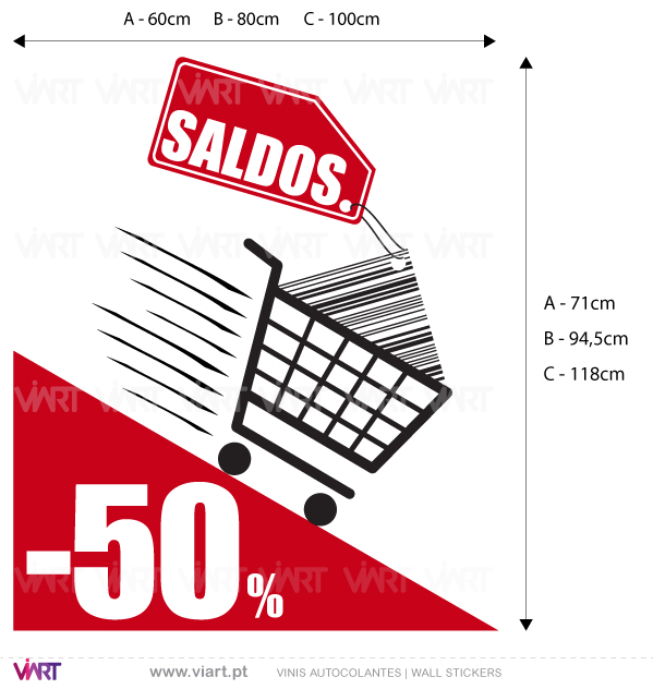 "Viart Wall Stickers - Window Dressing - Shopping Cart ""SALDOS"" - measures"