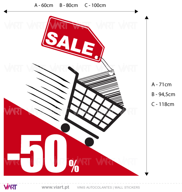"Viart Wall Stickers - Window Dressing - Shopping Cart ""SALE"" - measures"