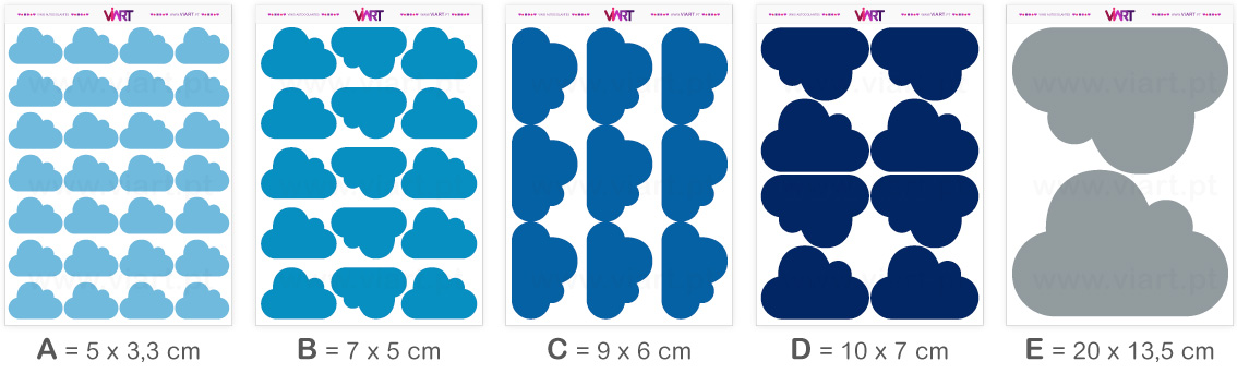 Viart - Wall Stickers - CLOUDS 1! - Wall Decal Set! Sizes
