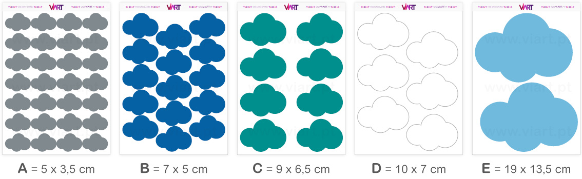 Viart - Wall Stickers - CLOUD 2 - Wall Decal Set! Sizes