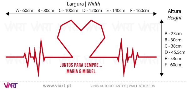 Viart - Vinis autocolantes decorativos - Bate coração personalizável - medidas