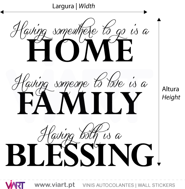 Viart Wall Stickers - HOME - FAMILY - BLESSING - measures
