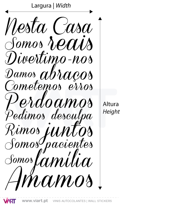 Viart Wall Stickers - Nesta casa - 2 - measures