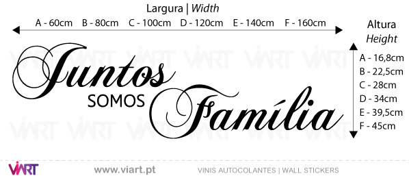 Viart Wall Stickers - Juntos somos Família - measures
