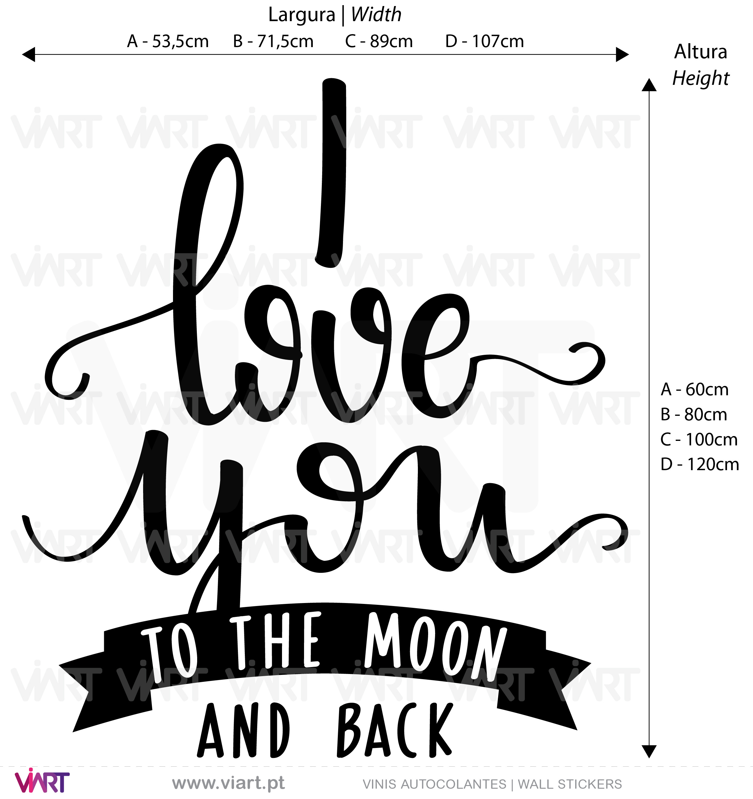 I love you to the moon and back! - Viart - Vinis Autocolantes decorativos. Decoração adesivos.