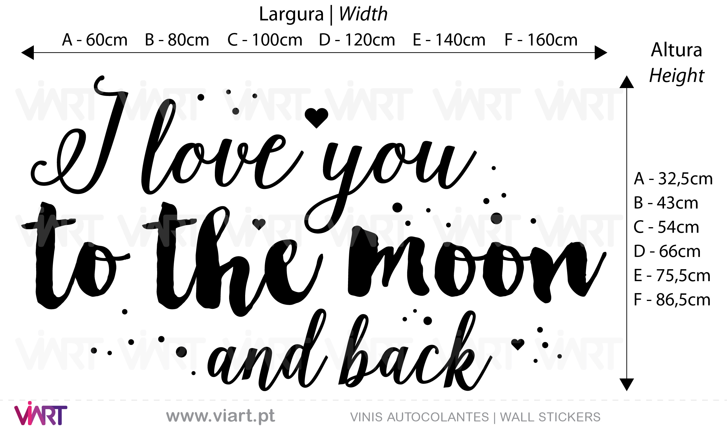 I love you to the moon and back... 2 Vinis Autocolantes decorativos. Decoração adesivos.
