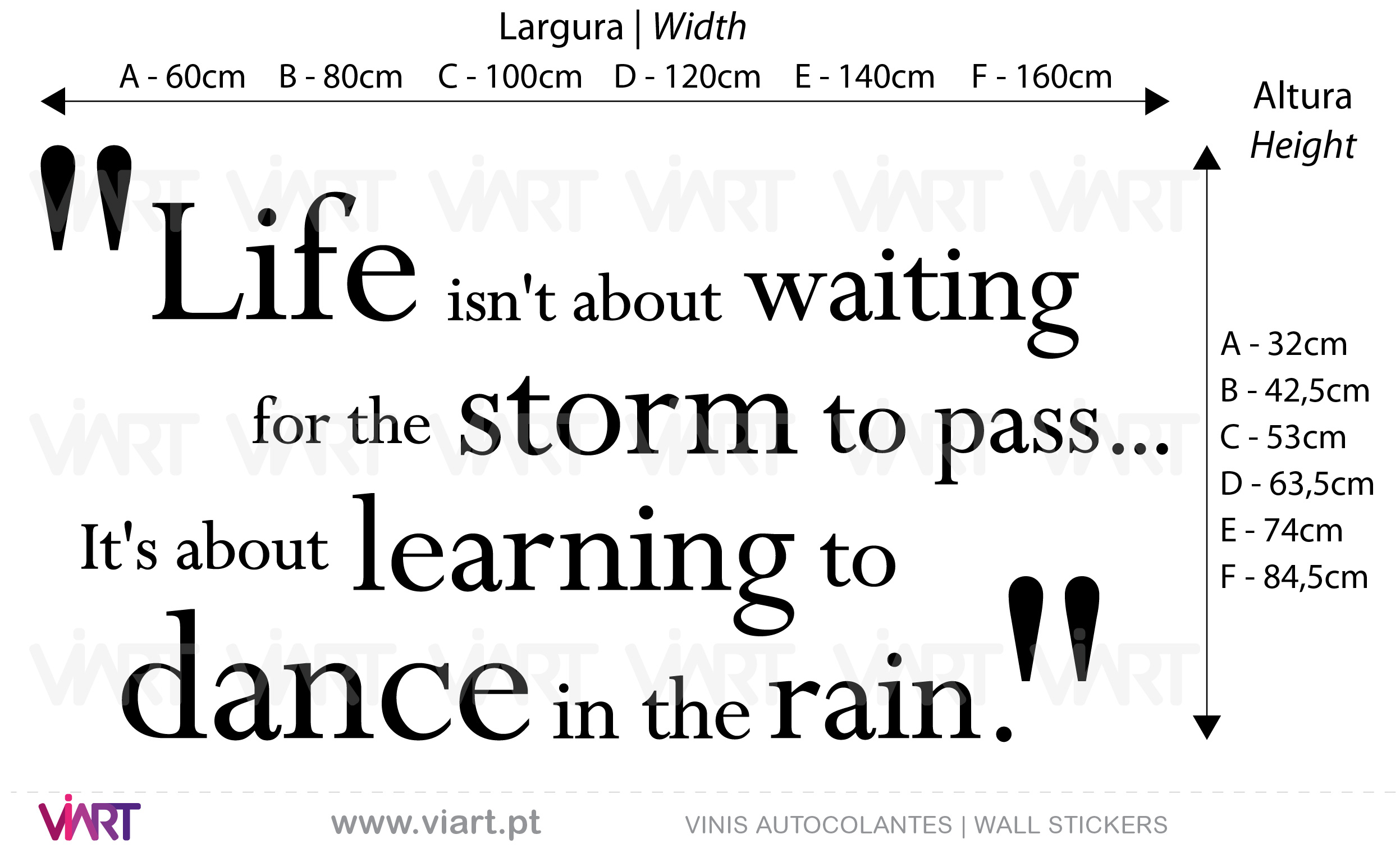 """Life... learning to dance in the rain."" Wall Stickers - Decals"