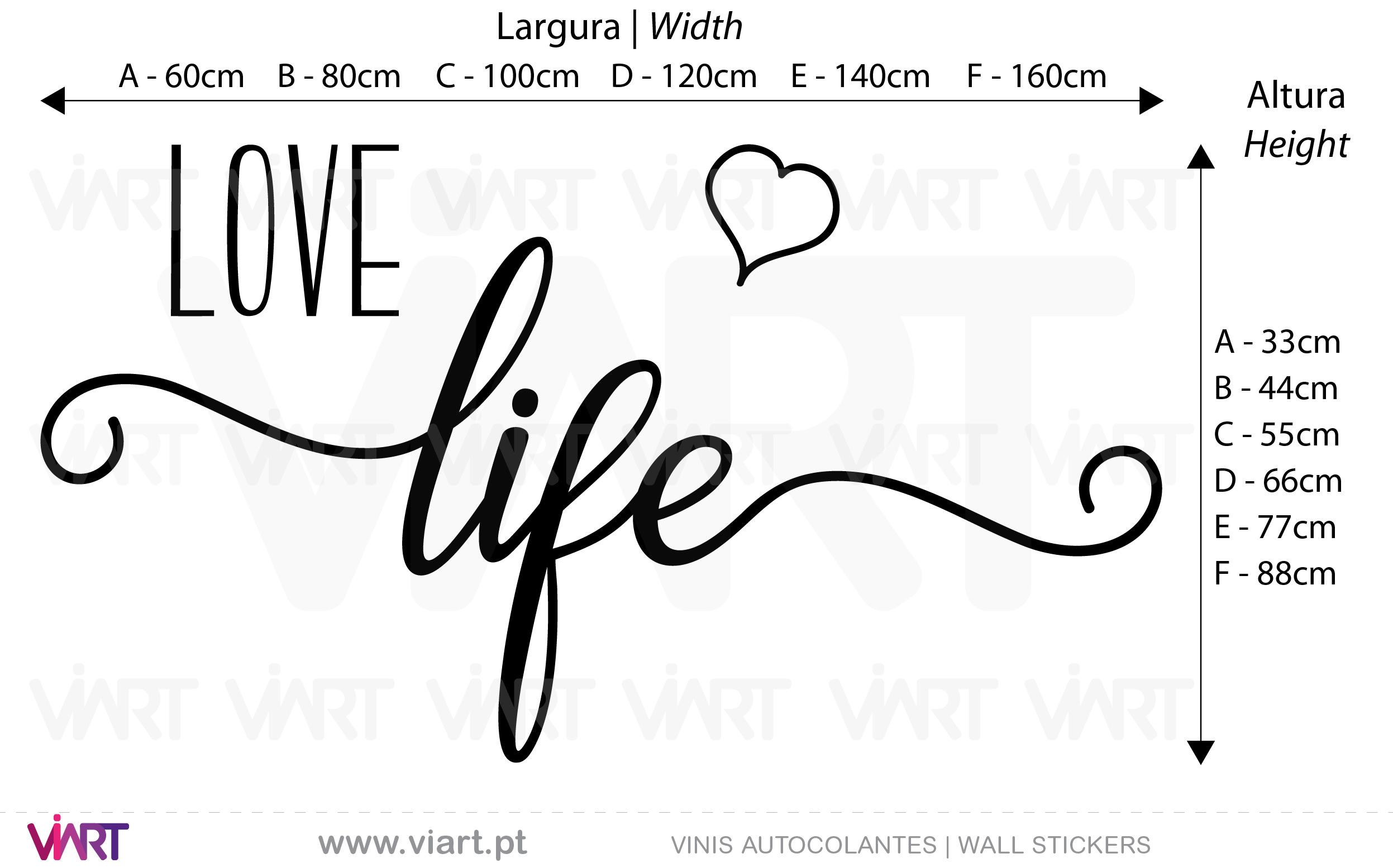 LOVE life! Vinis Autocolantes decorativos. Decoração adesivos.