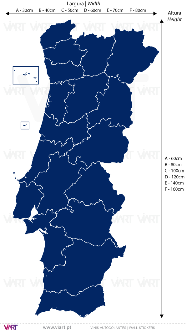 Portugal Map with districts. Wall Stickers - Decals