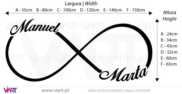 Infinity with customized names. Wall Stickers - Decals