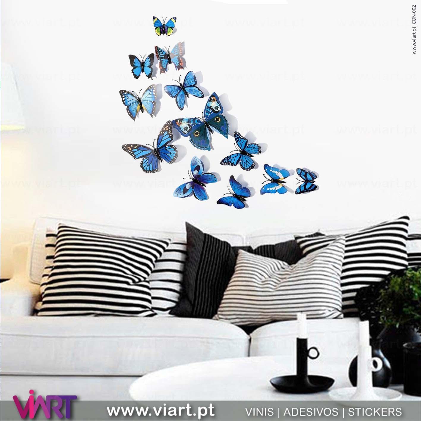 Viart - Vinis autocolantes decorativos - Adesivo decoração - Borboletas AzuisBorboletas Azuis! Magnéticas! Efeito 3D