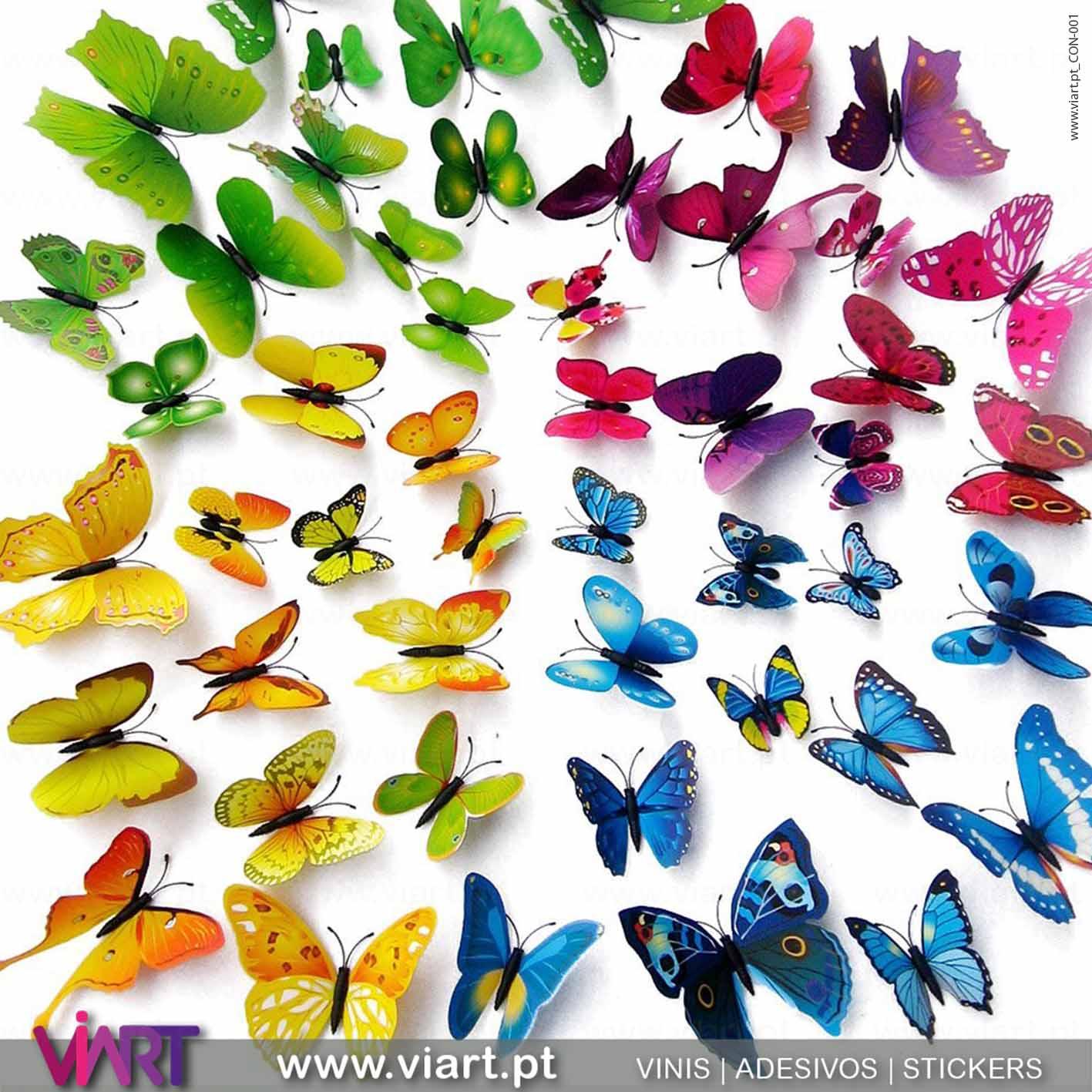 Viart - Vinis autocolantes decorativos - Adesivo decoração - Borboletas Azuis! Magnéticas! Efeito 3D