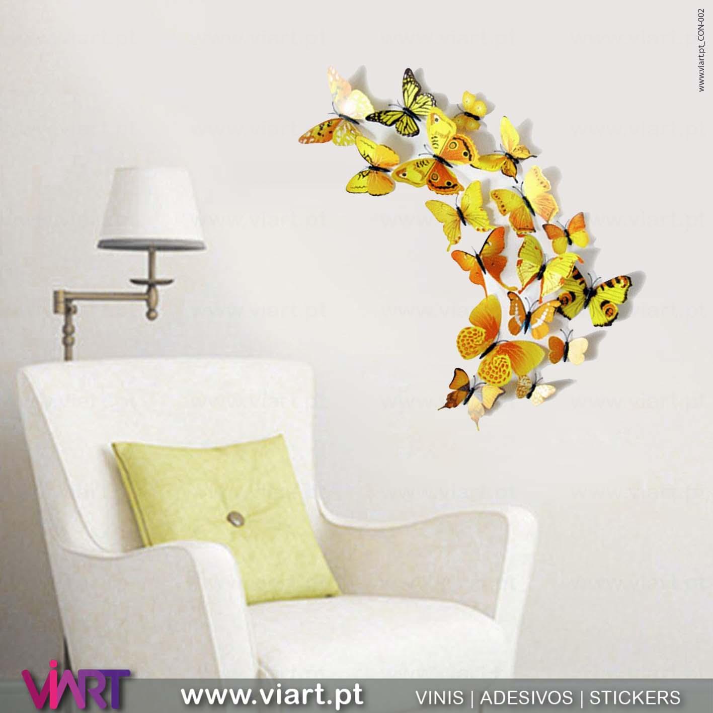 Viart - Vinis autocolantes decorativos - Adesivo decoração - Borboletas Amarelas! Magnéticas! Efeito 3D