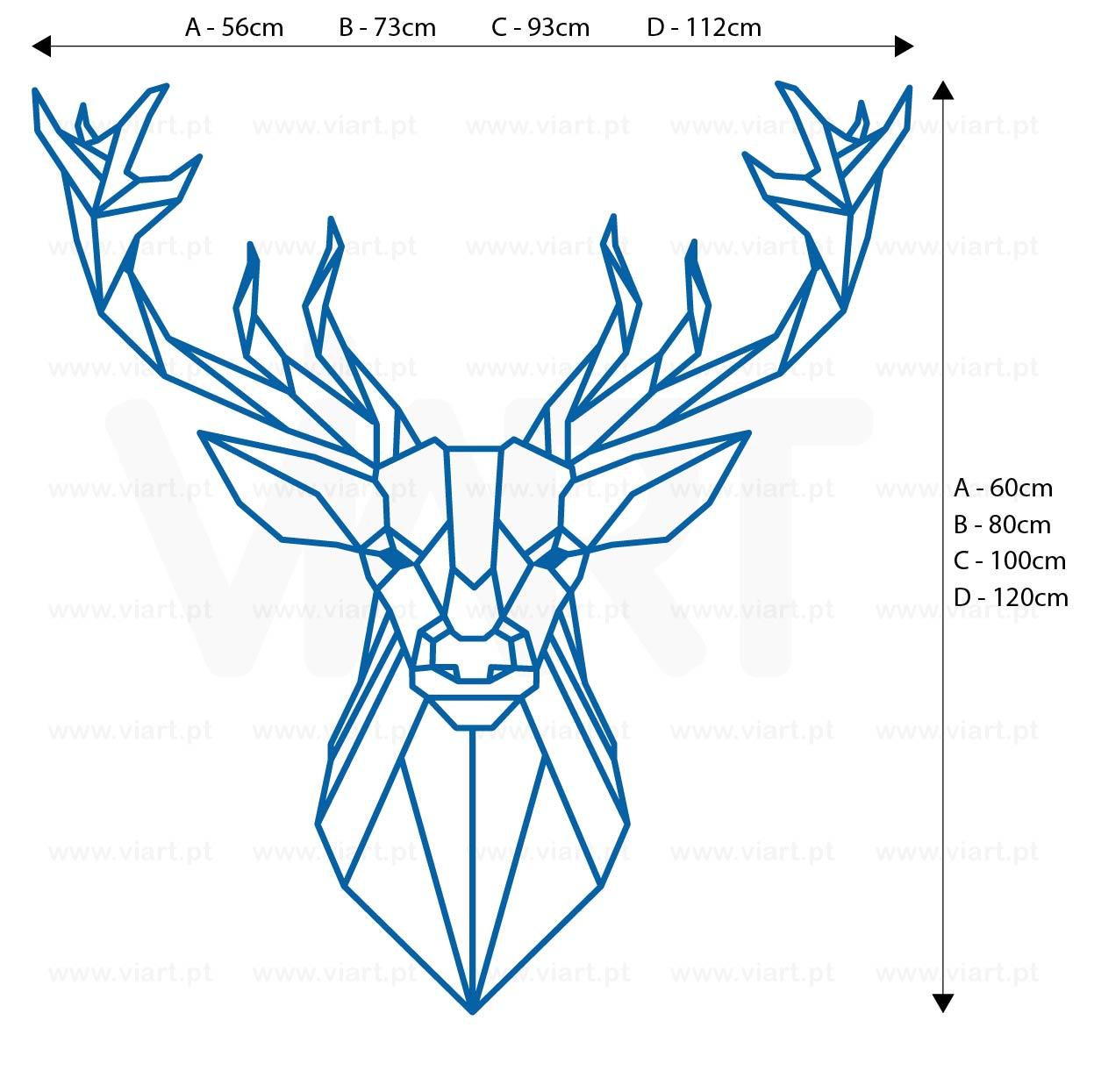 Viart - WALL STICKERS - Geometric Deer Head Decal! Origami! Medidas