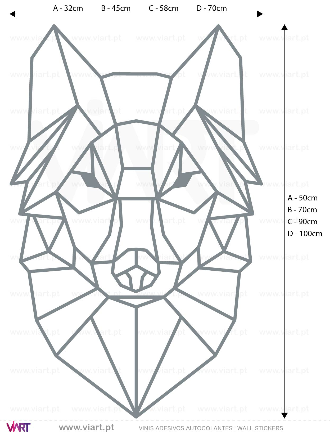Viart - WALL STICKERS - Geometric Wolf Head Decal! Origami! Medidas