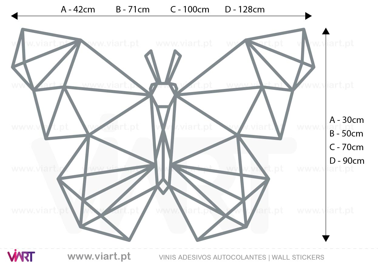 Viart - WALL STICKERS - Geometric Butterfly Decal! Origami! Medidas