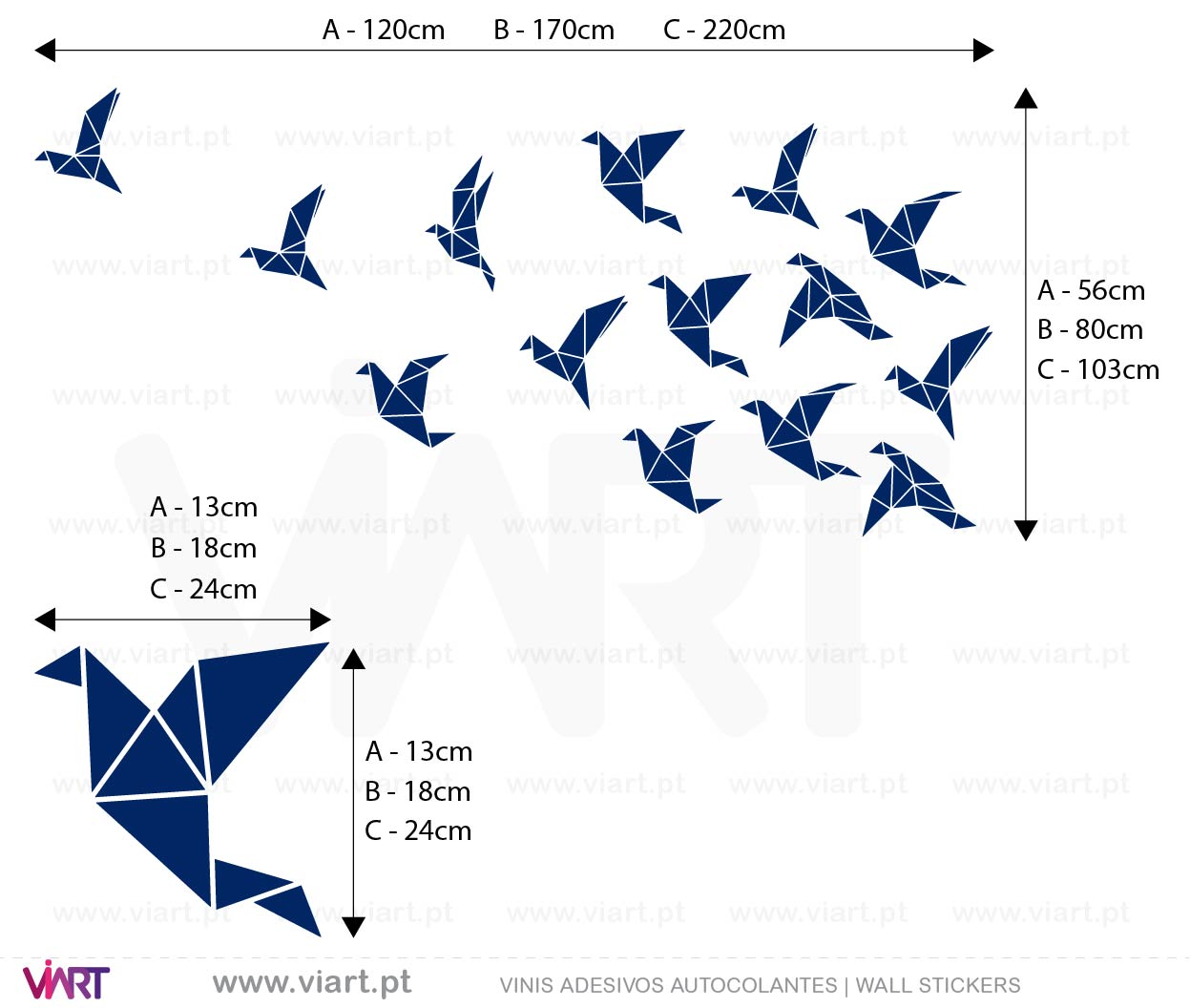 Drawn Origami Flock Of Birds 2 Wall Stickers Wall Art