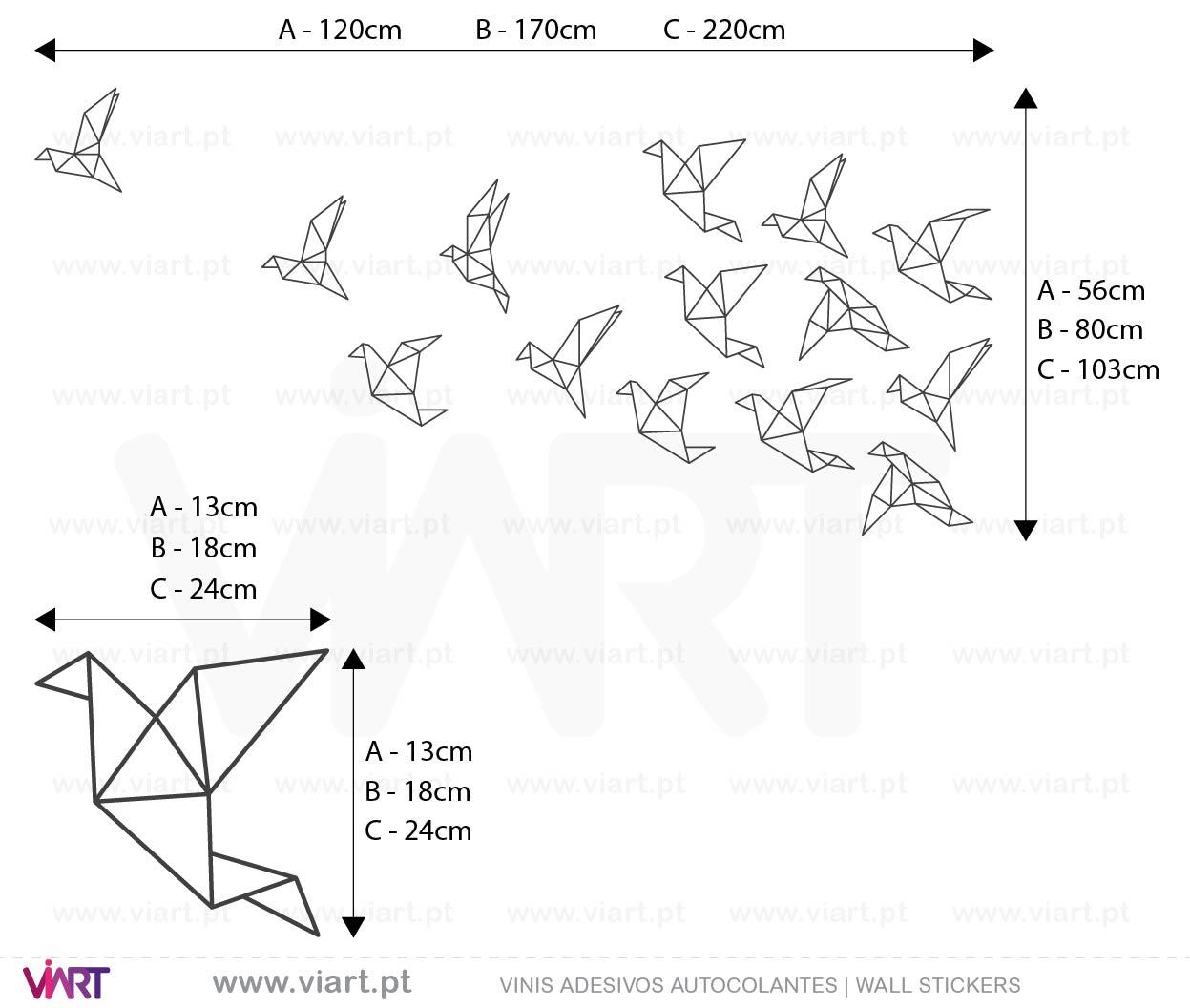 Viart - Vinis autocolantes decorativos - Bando de Aves! Origami! Medidas