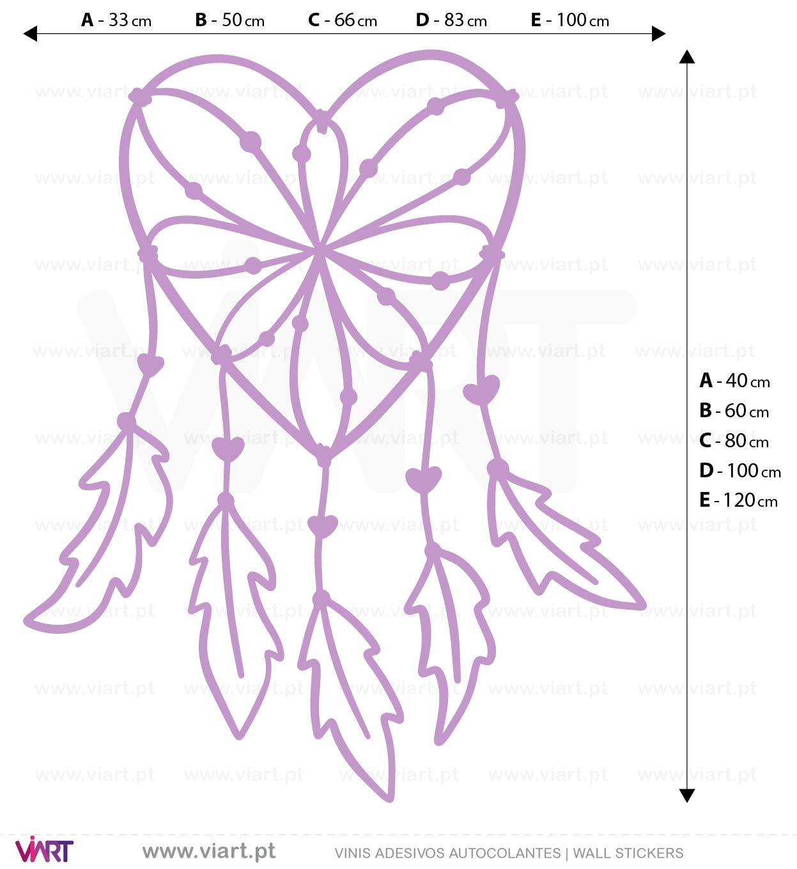 Viart - Vinis autocolantes decorativos - Adesivo - Caçador de Sonhos - Dreamcatcher! Medidas