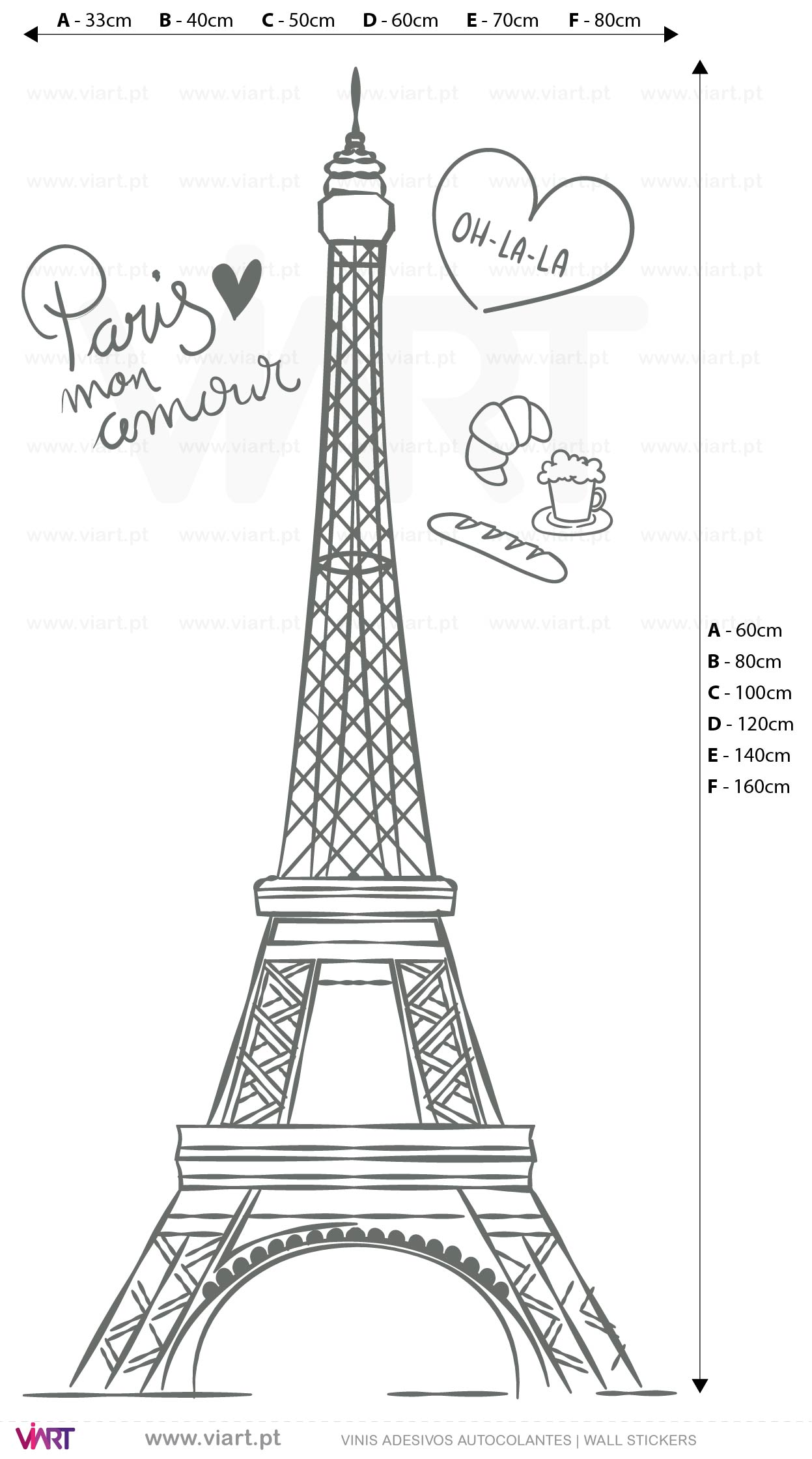 Viart - WALL STICKERS - Eiffel Tower - Paris mon amour! Measures