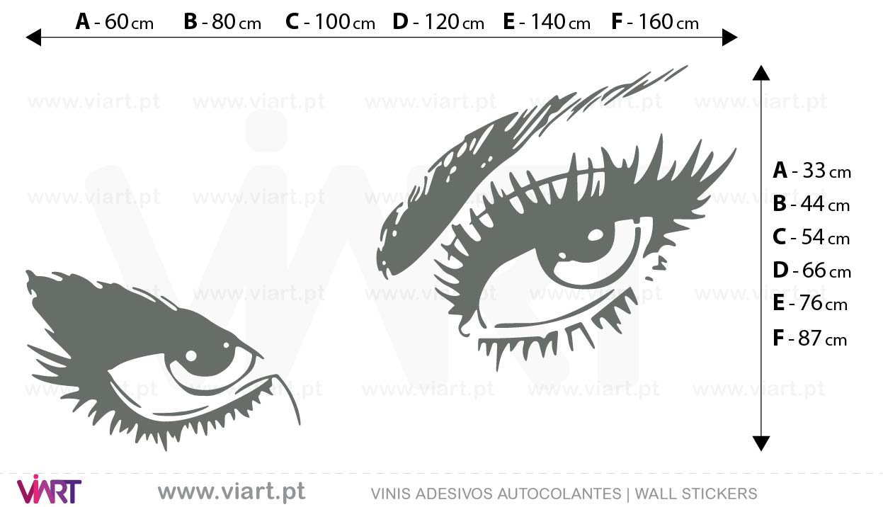 Viart - Vinis autocolantes decorativos - Adesivo -Olhar... Medidas