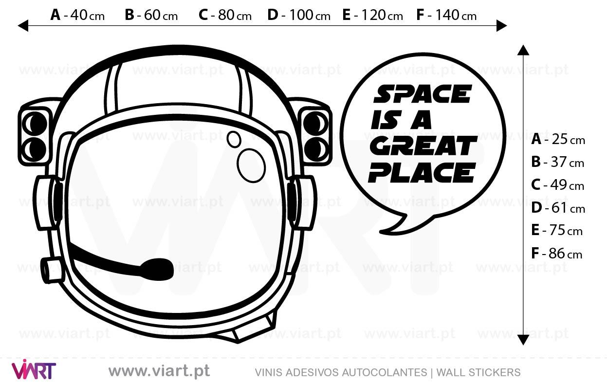 Viart - Vinis autocolantes decorativos - Adesivo - SPACE IS A GREAT PLACE! Medidas