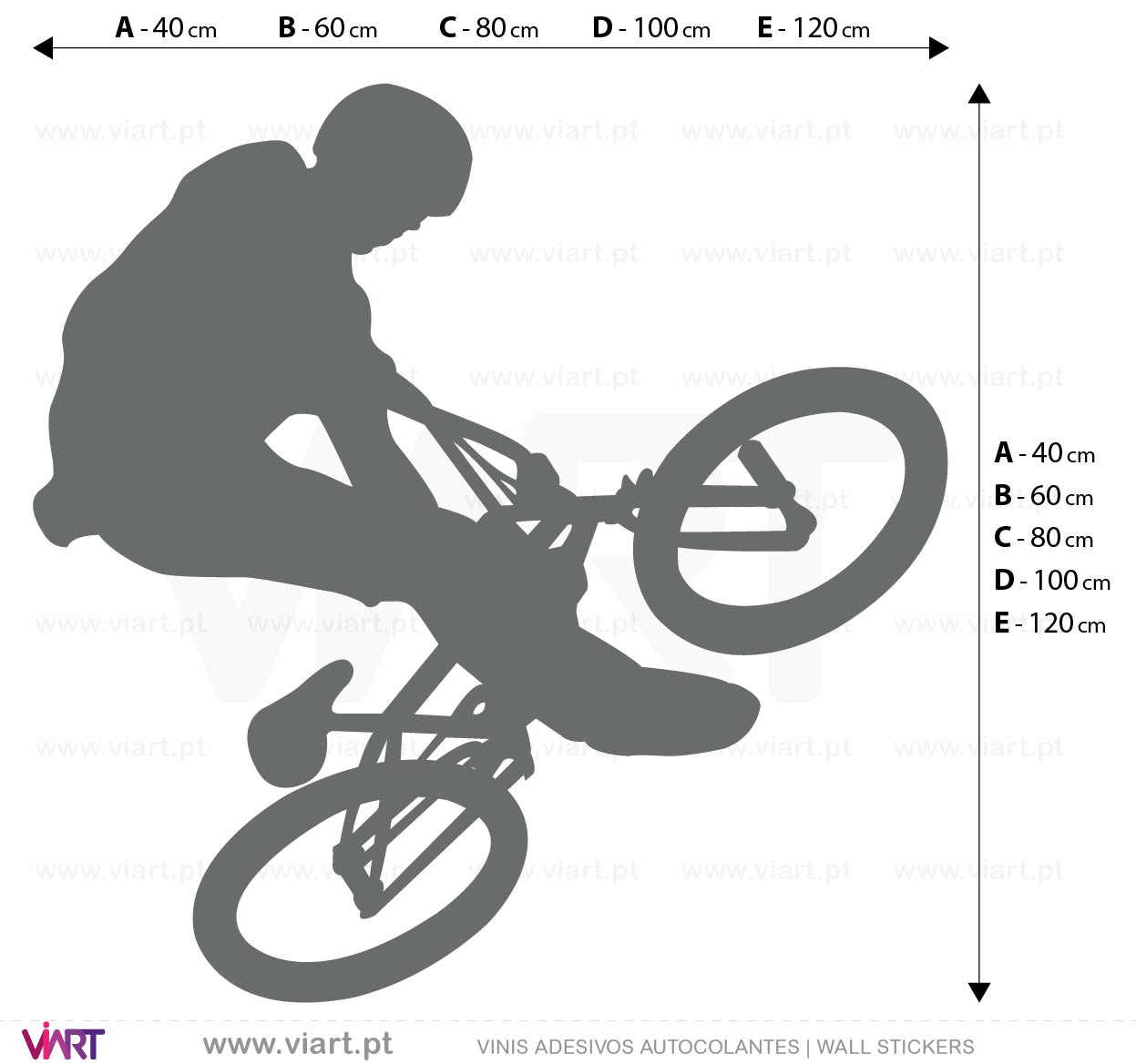 Viart - WALL STICKERS - Bicycle! Btt! Decal Measures